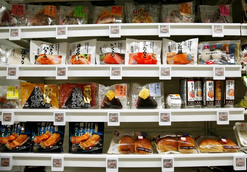 FILE PHOTO: Food products are displayed at Lawson Open Innovation center during an event introducing its next-generation convenience store model in Tokyo