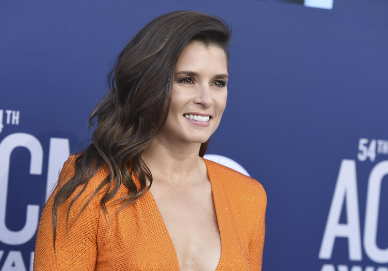 Danica Patrick arrives at the 54th annual Academy of Country Music Awards at the MGM Grand Garden Arena on Sunday, April 7, 2019, in Las Vegas. (Photo by Jordan Strauss/Invision/AP)
