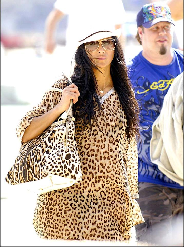 "Nicole Scherzinger's tacky tigress getup is far from ferocious. <a href=""http://www.x17online.com"" target=""new"">X17 Online</a> - August 18, 2008"