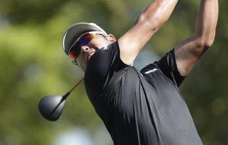 Mar 23, 2017; Austin, TX, USA; Hideki Matsuyama of Japan plays Ross Fisher of England during the second round of the World Golf Classic - Dell Match Play golf tournament at Austin Country Club. Mandatory Credit: Erich Schlegel-USA TODAY Sports