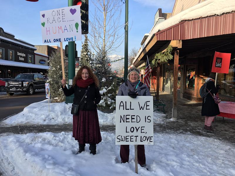 Local Whitefish residents stood for hours on the corner of Central and Second, just in case any white supremacists showed up. (Photo: Andrew Romano/Yahoo News)