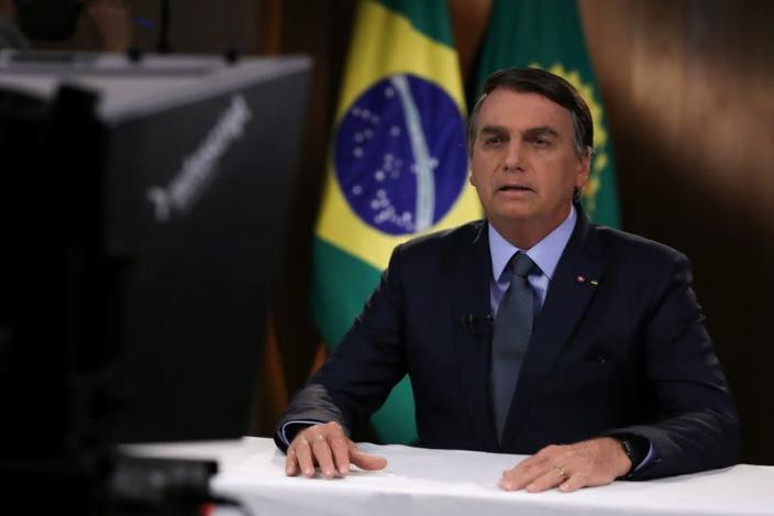 Brazil's President Jair Bolsonaro is seen during a pre-recorded address to the 75th annual U.N. General Assembly in Brasilia