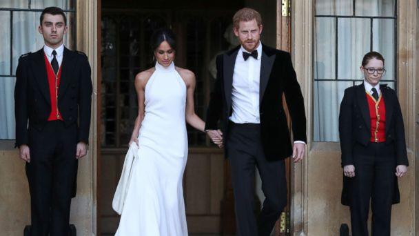 PHOTO: The newly married Duke and Duchess of Sussex, Prince Harry and Meghan Markle, leave Windsor Castle after their wedding to attend an evening reception at Frogmore House, in Windsor, England, May 19, 2018. (Steve Parsons/Pool via Reuters)
