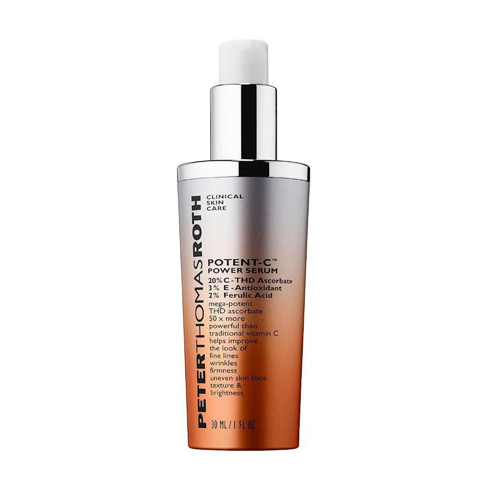 """<p><strong>Peter Thomas Roth</strong></p><p>sephora.com</p><p><strong>$98.00</strong></p><p><a href=""""https://go.redirectingat.com?id=74968X1596630&url=https%3A%2F%2Fwww.sephora.com%2Fproduct%2Fpotent-c-power-serum-P428100&sref=https%3A%2F%2Fwww.bestproducts.com%2Fbeauty%2Fg20966726%2Fvitamin-c-face-serum-reviews%2F"""" rel=""""nofollow noopener"""" target=""""_blank"""" data-ylk=""""slk:Shop Now"""" class=""""link rapid-noclick-resp"""">Shop Now</a></p><p>The Peter Thomas Roth Potent-C serum is another pick that's on the pricier end of the spectrum, but it provides serious results. This anti-aging and brightening treatment features 20% THD ascorbate, a mega-potent form of vitamin C. </p><p>It also contains 3% vitamin E and 2% ferulic acid to make this vitamin C serum the ultimate anti-aging treatment.</p>"""