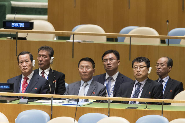 FILE - In this Sept. 29, 2018, file photo, members of the North Korean delegation listen as North Korean Foreign Minister Ri Yong Ho addresses the 73rd session of the United Nations General Assembly at U.N. headquarters. After two years in the spotlight at the U.N. General Assembly, North Korea this year is mostly an afterthought. (AP Photo/Mary Altaffer, File)