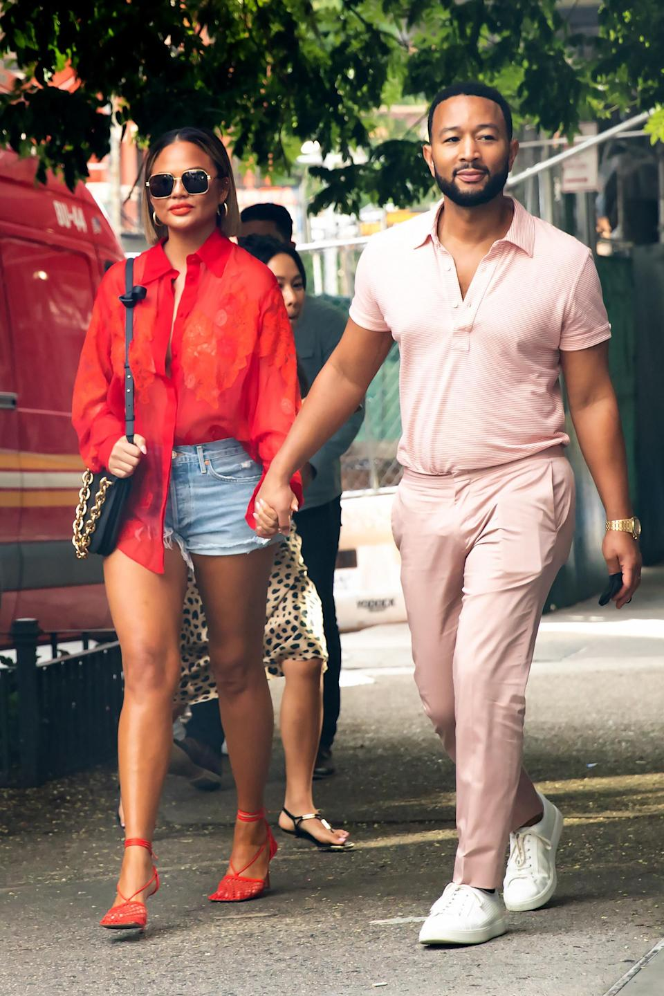 """<div><p>""""I don't really feel like I fully processed Jack and now that I don't have the alcohol to numb it away, things are just…there, waiting to be acknowledged,"""" she <a href=""""https://www.buzzfeednews.com/article/elliewoodward/chrissy-teigen-struggling-process-loss-of-baby-going-sober"""" rel=""""nofollow noopener"""" target=""""_blank"""" data-ylk=""""slk:wrote"""" class=""""link rapid-noclick-resp"""">wrote</a> on Instagram.</p></div><span> Mega / GC Images via Getty Images</span>"""