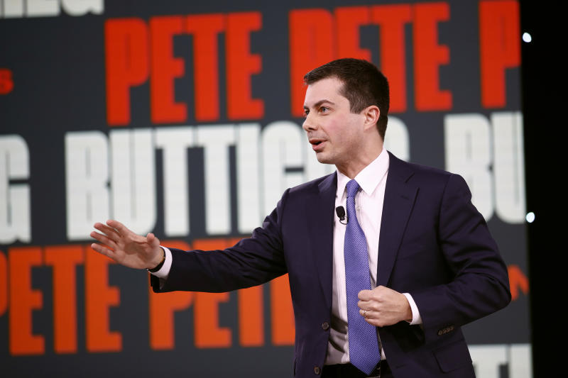 Democratic presidential candidate and former South Bend, Ind., Mayor Pete Buttigieg speaks at the Brown & Black Presidential Forum at the Iowa Events Center, Monday, Jan. 20, 2020, in Des Moines, Iowa. (AP Photo/Patrick Semansky)