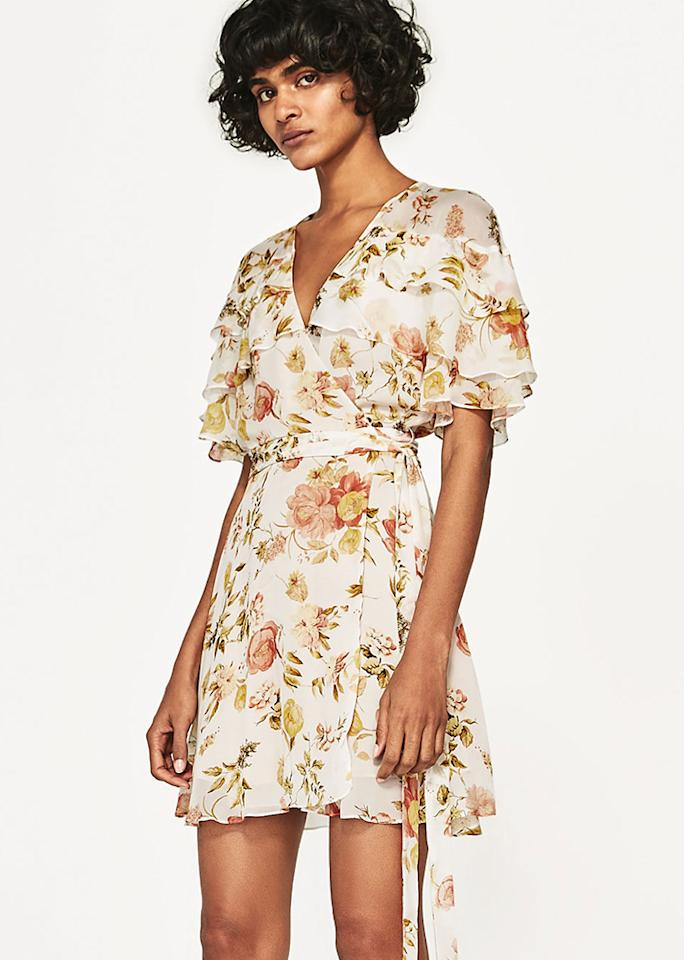"Zara Mini Dress with Print, $69.90; at <a rel=""nofollow"" href=""https://www.zara.com/us/en/woman/new-in/mini-dress-with-print-c805003p4601540.html"">Zara</a>"