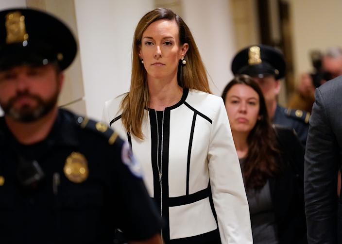 Jennifer Williams, a special adviser to Vice President Mike Pence for Europe and Russia who is a career foreign service officer, departs after a closed-door interview in the impeachment inquiry on President Donald Trump's efforts to press Ukraine to investigate his political rival, Joe Biden, at the Capitol in Washington, Nov. 7, 2019.