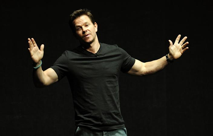 """Mark Wahlberg, a cast member in the upcoming film """"Transformers: Age of Extinction,"""" talks about the movie onstage at the Opening Night Presentation from Paramount Pictures at CinemaCon 2014 on Monday, March 24, 2014, in Las Vegas. (Photo by Chris Pizzello/Invision/AP)"""