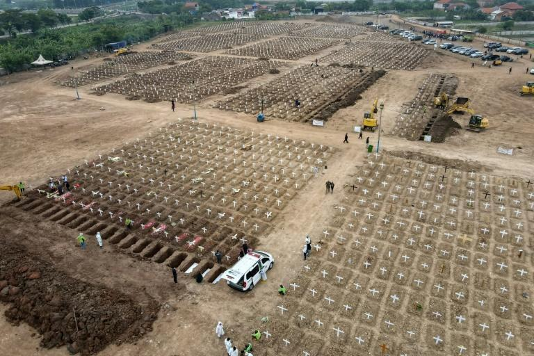Graves being prepared for Covid victims in Jakarta, Indonesia