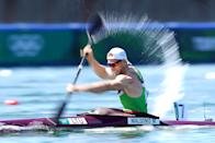 <p>Lithuania's Mindaugas Maldonis during the Canoe Sprint Semi-Final 2 at the Sea Forest Waterway on the thirteenth day of the Tokyo 2020 Olympic Games in Japan. Picture date: Thursday August 5, 2021. (Photo by Mike Egerton/PA Images via Getty Images)</p>