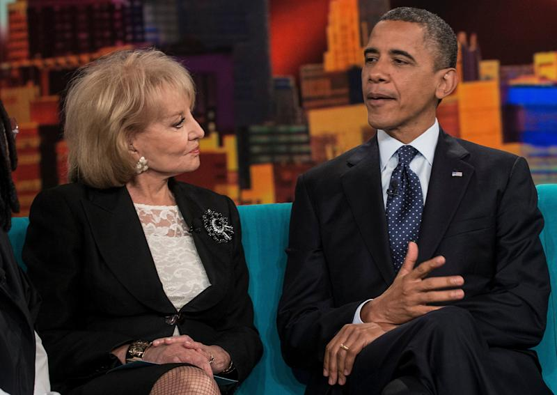 Barbara Walters listens as US President Barack Obama speaks during a break in a taping of 'The View' at ABC Studios September 24, 2012 in New York, New York. Obama is traveling for a two day trip to New York City where he will participate in a taping of 'The View' before attending the United Nations General Assembly and related events. AFP PHOTO/Brendan SMIALOWSKI (Photo credit should read BRENDAN SMIALOWSKI/AFP/GettyImages)