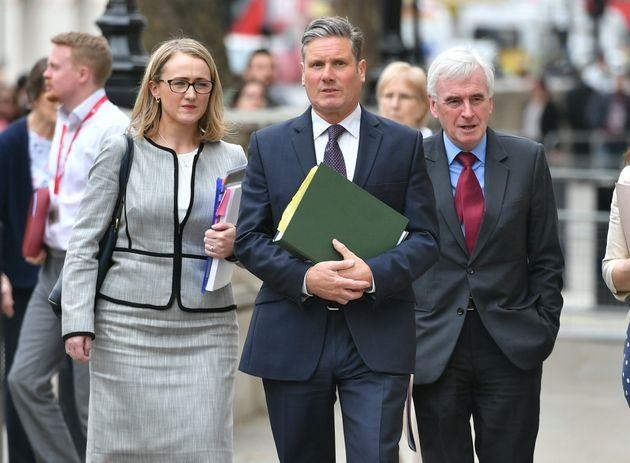 (left to right) Rebecca Long-Bailey, shadow Brexit Secretary Sir Keir Starmer, shadow Chancellor of the Exchequer John McDonnell arriving at the Cabinet Office in Westminster for Brexit talks.