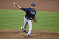 Tampa Bay Rays starting pitcher Charlie Morton delivers a pitch during the first inning of a baseball game against the Baltimore Orioles, Saturday, Sept. 19, 2020, in Baltimore. (AP Photo/Nick Wass)