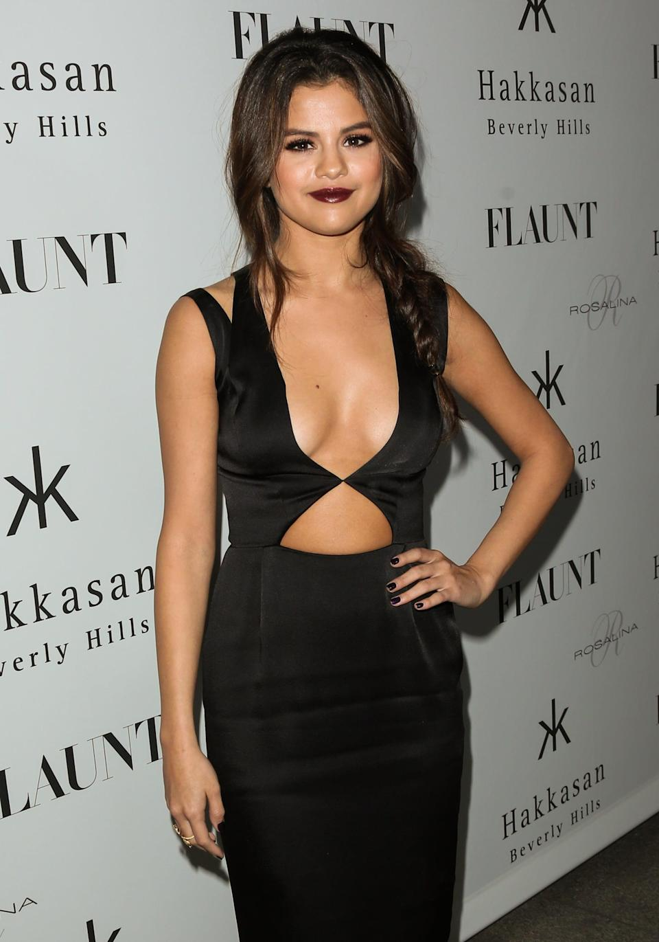 """<p>To launch her supersexy cover <a href=""""http://www.flaunt.com/people/selena-gomez/"""" class=""""link rapid-noclick-resp"""" rel=""""nofollow noopener"""" target=""""_blank"""" data-ylk=""""slk:for Flaunt magazine"""">for Flaunt magazine</a>, Selena wore an equally sultry look at a party in her honor in Beverly Hills, CA.</p>"""