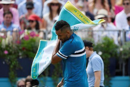 Tennis - ATP 500 - Fever-Tree Championships - The Queen's Club, London, Britain - June 23, 2018 Australia's Nick Kyrgios reacts during his semi final match against Croatia's Marin Cilic Action Images via Reuters/Tony O'Brien