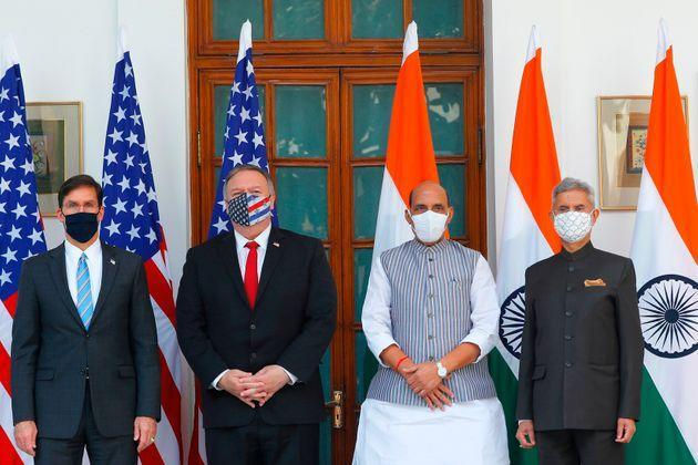 US Secretary of State Mike Pompeo (2nd L), US Secretary of Defense Mark Esper (L), India's Defence Minister Rajnath Singh (2nd R) and India's Foreign Minister Subrahmanyam Jaishankar before their meeting at Hyderabad House in New Delhi on October 27, 2020.