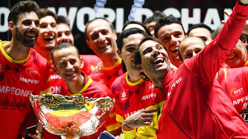 Pictured here, Team Spain celebrate their Davis Cup title triumph.