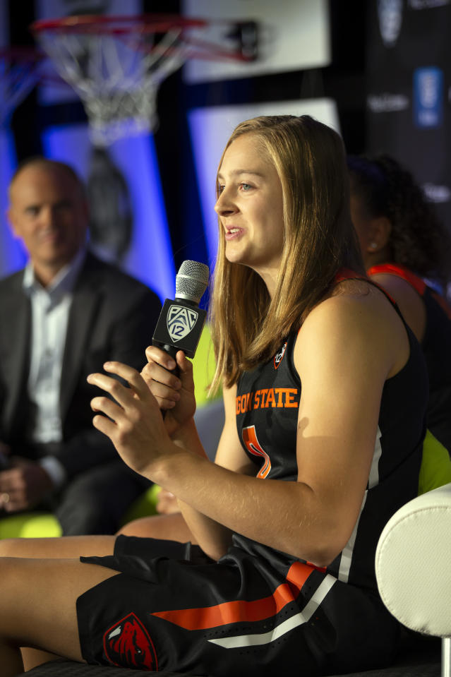 Oregon State's Mikayla Pivec speaks to reporters during the Pac-12 Conference women's NCAA college basketball media day, Monday, Oct. 7, 2019, in San Francisco. (AP Photo/D. Ross Cameron)