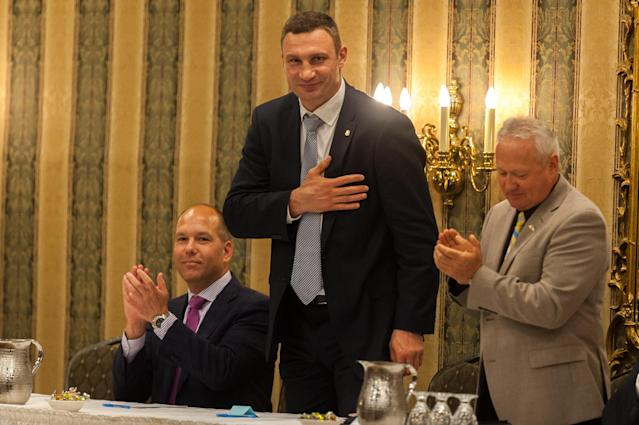 Former heavyweight champion Vitali Klitschko, now the mayor of Kiev, was elected to the International Boxing Hall of Fame on Tuesday, along with Winky Wright and Erik Morales. (NurPhoto)