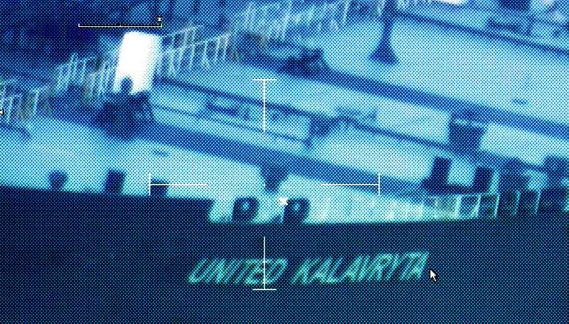 A still image from video taken by a U.S. Coast Guard HC-144 Ocean Sentry aircraft shows the oil tanker United Kalavyrta (also known as the United Kalavrvta), which is carrying a cargo of Kurdish crude oil, approaching Galveston, Texas July 25, 2014. U.S. authorities are set to seize a cargo of oil from Iraqi Kurdistan anchored off the Texas coast after a judge approved a request from Baghdad, raising the stakes in an oil sales dispute between Iraq's central government and the autonomous region.The tanker United Kalavryta, carrying some 1 million barrels of Iraqi Kurdish crude oil worth more than $100 million, arrived near Galveston Bay on Saturday, but has yet to unload its disputed cargo. Picture taken July 25, 2014. REUTERS/US Coast Guard/handout via Reuters (UNITED STATES - Tags: ENERGY TRANSPORT POLITICS CRIME LAW) FOR EDITORIAL USE ONLY. NOT FOR SALE FOR MARKETING OR ADVERTISING CAMPAIGNS. THIS IMAGE HAS BEEN SUPPLIED BY A THIRD PARTY. IT IS DISTRIBUTED, EXACTLY AS RECEIVED BY REUTERS, AS A SERVICE TO CLIENTS