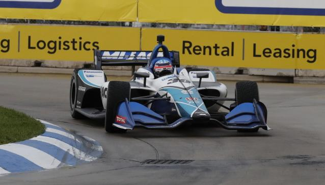 Takuma Sato (30) of Japan drives through the 11th turn during the first race of the IndyCar Detroit Grand Prix auto racing doubleheader, Saturday, June 1, 2019, in Detroit. (AP Photo/Carlos Osorio)