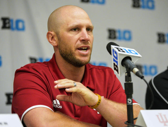 Indiana coach Jeff Mercer speaks during a news conference, Tuesday, May 21, 2019, ahead of the Big Ten NCAA college baseball tournament. First-year coach Mercer led the Hoosiers to their first Big Ten regular-season championship since 2014. His team leads the nation with 90 home runs entering the conference tournament at TD Ameritrade Park in Omaha, Neb. (AP Photo/Nati Harnik)
