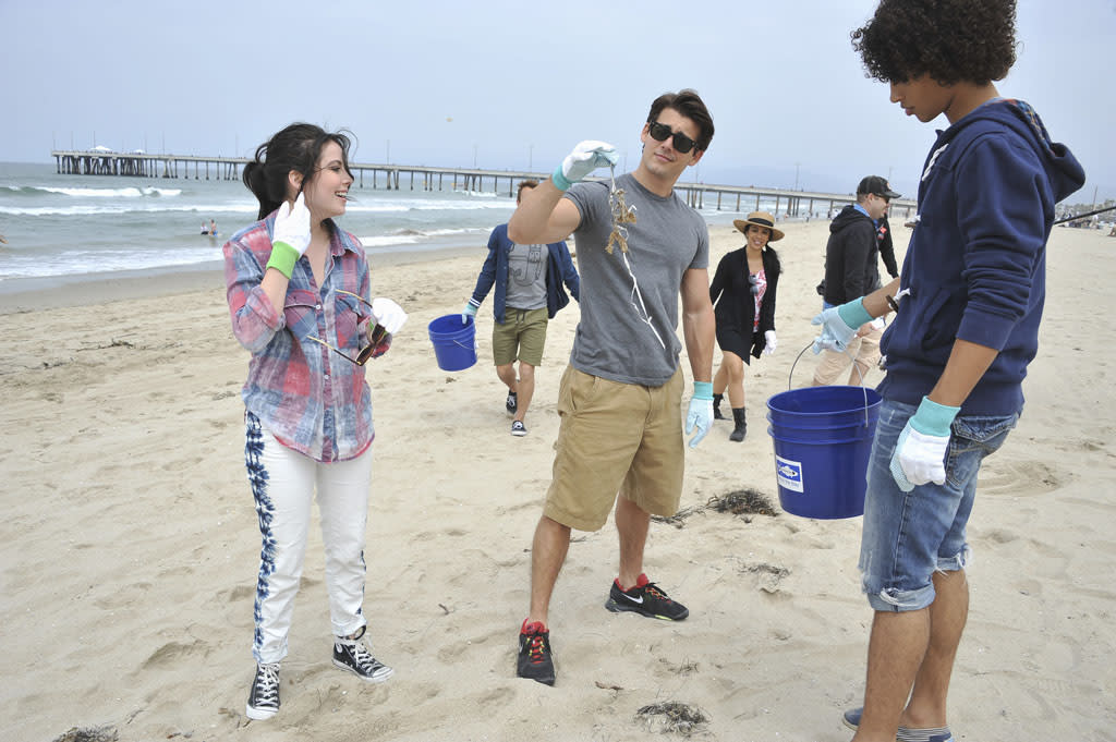"The cast of the highly anticipated Disney Channel Original Movie ""Teen Beach Movie"" kick off their summer by joining Heal the Bay for a ""Nothin' But Sand"" beach cleanup at Venice Beach, California on June 15, 2013."