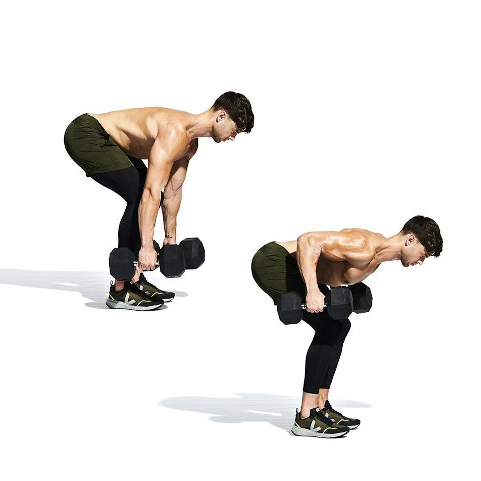 <p>Hinge forward at the hips, maintaining a straight back. Let the weights hang below you (<strong>A</strong>). Set your shoulder blades and pull the weights up to your thighs (<strong>B</strong>). Focus on contracting the middle of your back. Lower slowly and repeat.</p>