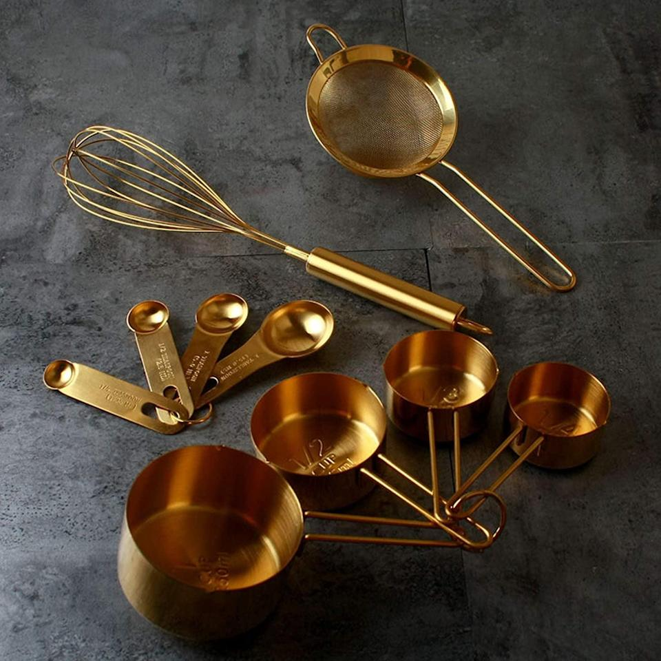 <p>There is nothing more gorgeous than the <span>Homestia 10 Piece Gold Cooking and Baking Utensil Set Stainless Steel</span> ($27).</p>