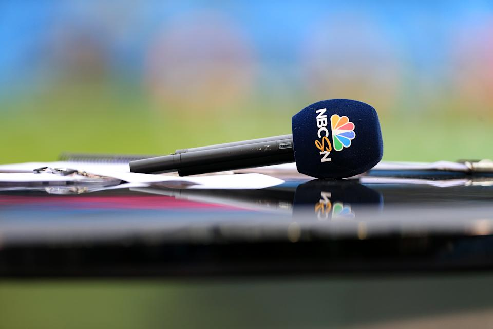 MANCHESTER, ENGLAND - APRIL 07: An NBC Sports Network television microphone is seen ahead of the Premier League match between Manchester City and Manchester United at the Etihad Stadium on April 7, 2018 in Manchester, England. (Photo by Simon Stacpoole/Offside/Getty Images)