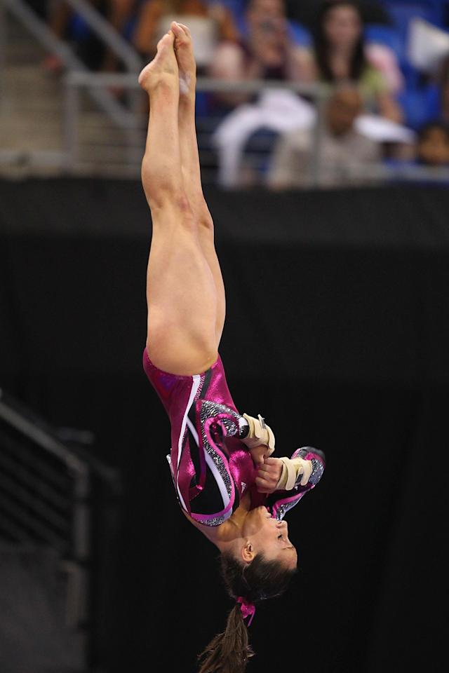 ST. LOUIS, MO - JUNE 10: Jordyn Wieber competes on the vault during the Senior Women's competition on day four of the Visa Championships at Chaifetz Arena on June 10, 2012 in St. Louis, Missouri. (Photo by Dilip Vishwanat/Getty Images)