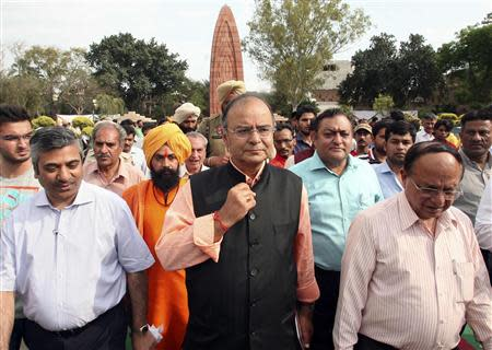Jaitley, a senior leader of India's main opposition BJP, arrives to pay homage at the Jallianwala Bagh memorial in Amritsar