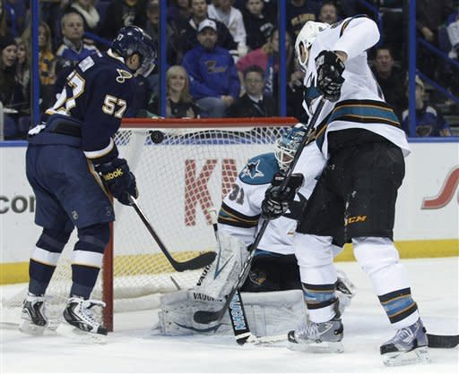 St. Louis Blues' David Perron (57) banks the puck off of San Jose Sharks goalie Antti Niemi (31) for a goal in the second period of an NHL hockey game, Sunday, Feb. 12, 2012, in St. Louis. (AP Photo/Tom Gannam)
