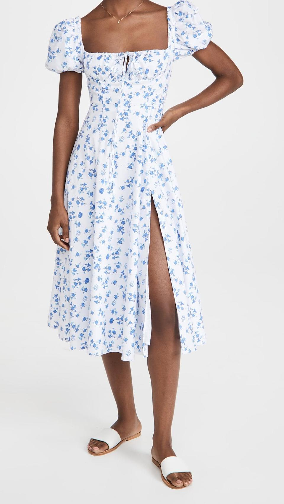 <p>Libras like to subtly flaunt their demure attitude, and the <span>OPT Cotton Peasant Dress</span> ($122) beautifully keeps the print toned down while offering a vintage silhouette that is flattering on every figure. Even pair it with booties and wear into fall, because Libra knows how to do it all!</p>