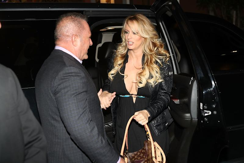 Stephanie Clifford, who uses the stage name Stormy Daniels, arrives to perform at the Solid Gold Fort Lauderdale strip club on March 9 in Pompano Beach, Florida. (Joe Raedle via Getty Images)