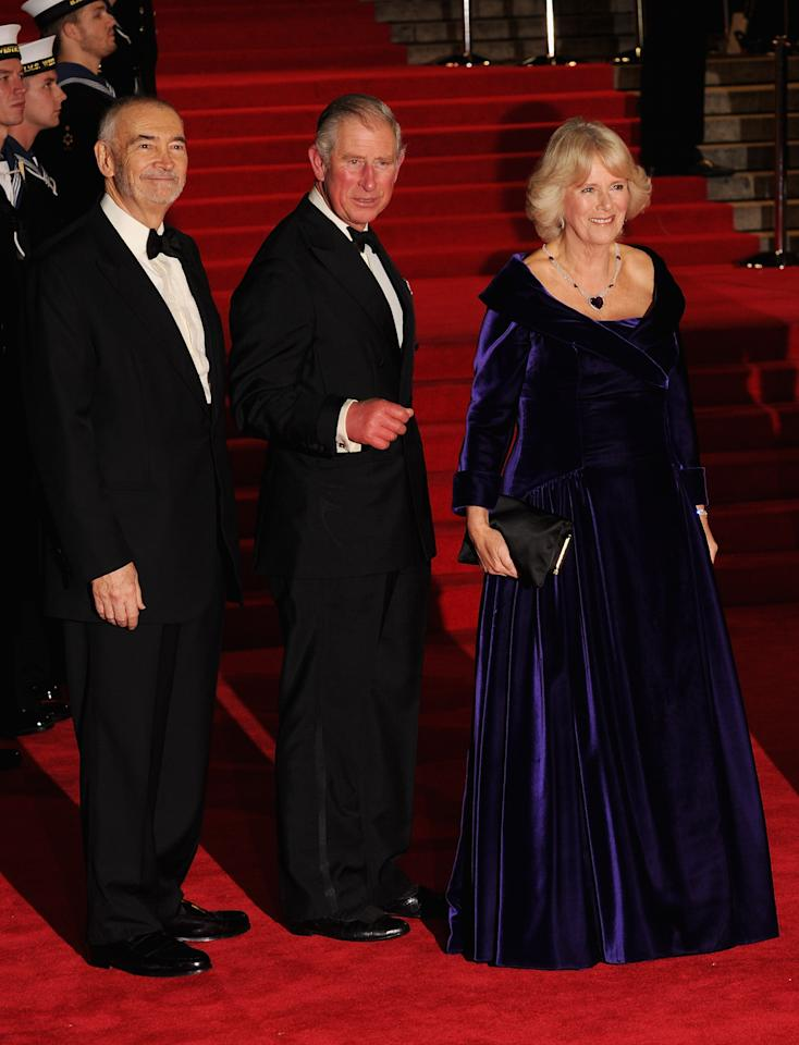LONDON, ENGLAND - OCTOBER 23: Producer Michael G. Wilson (L) and Prince Charles, Prince of Wales and Camilla, Duchess of Cornwall  attend the Royal World Premiere of 'Skyfall' at the Royal Albert Hall on October 23, 2012 in London, England.  (Photo by Eamonn McCormack/Getty Images)