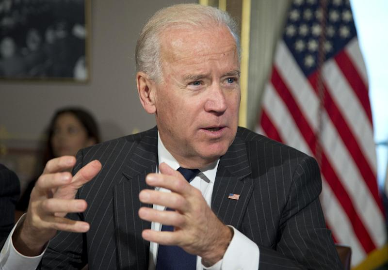 Vice President Joe Biden speaks during a meeting at the Eisenhower Executive Office Building in the White House complex, Thursday, Dec. 20, 2012, in Washington. Biden is leading a task force that will look at ways of reducing gun violence. (AP Photo/Carolyn Kaster)