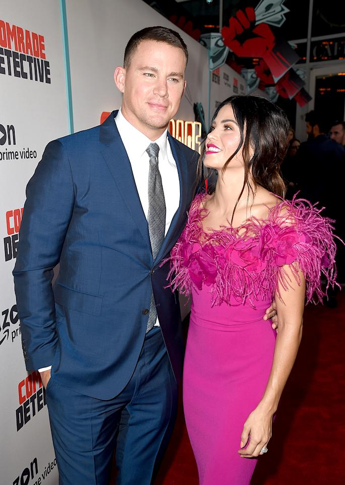 <p>The impossibly gorgeous pair posed adorably on the red carpet — as they've been know to do — at the L.A. premiere of his new Amazon comedy, Comrade Detective. (Photo: Kevin Winter/Getty Images) </p>
