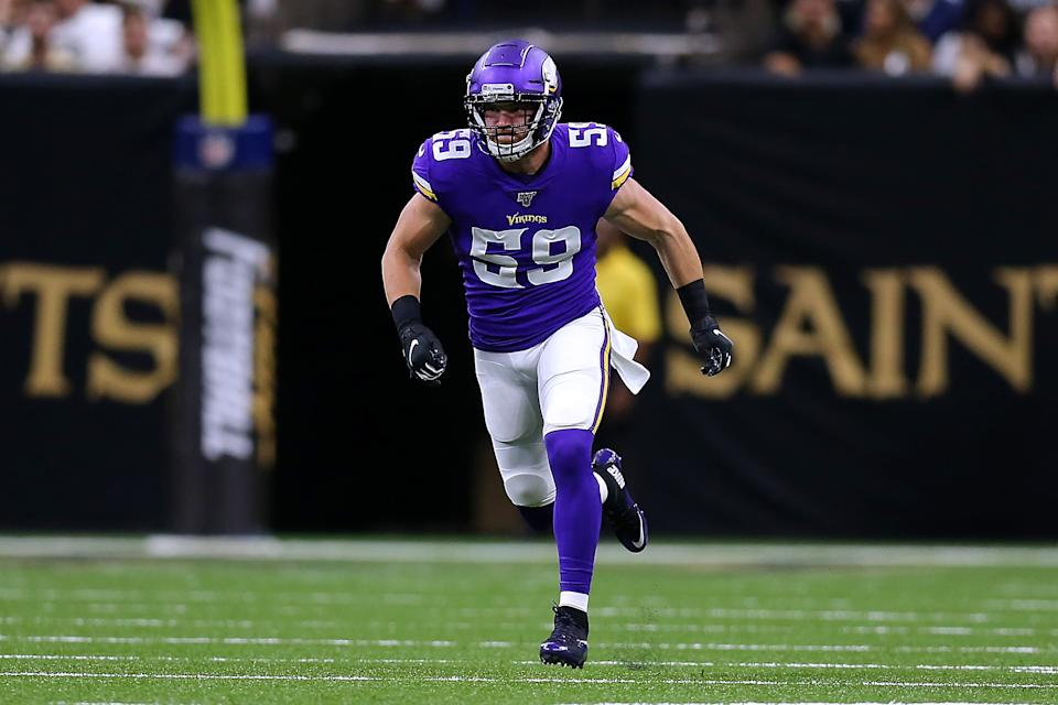 NEW ORLEANS, LOUISIANA - AUGUST 09: Cameron Smith #59 of the Minnesota Vikings during a preseason game at the Mercedes Benz Superdome on August 09, 2019 in New Orleans, Louisiana. (Photo by Jonathan Bachman/Getty Images)