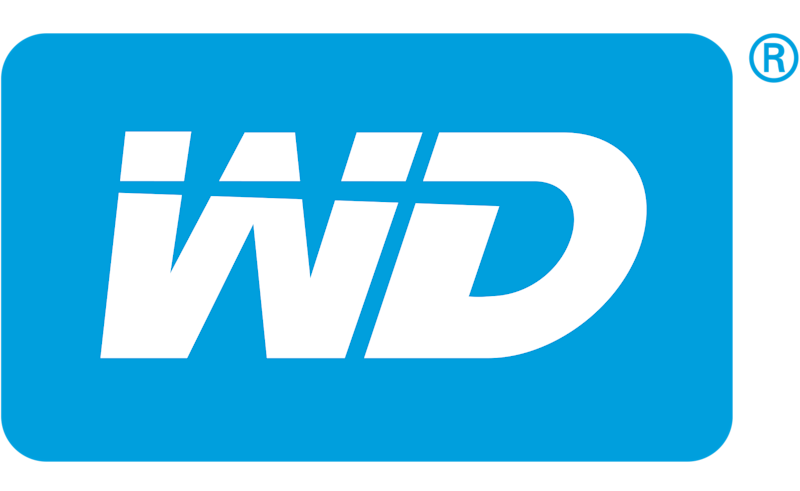 Western Digital logo of white letters spelling WD on a blue background.