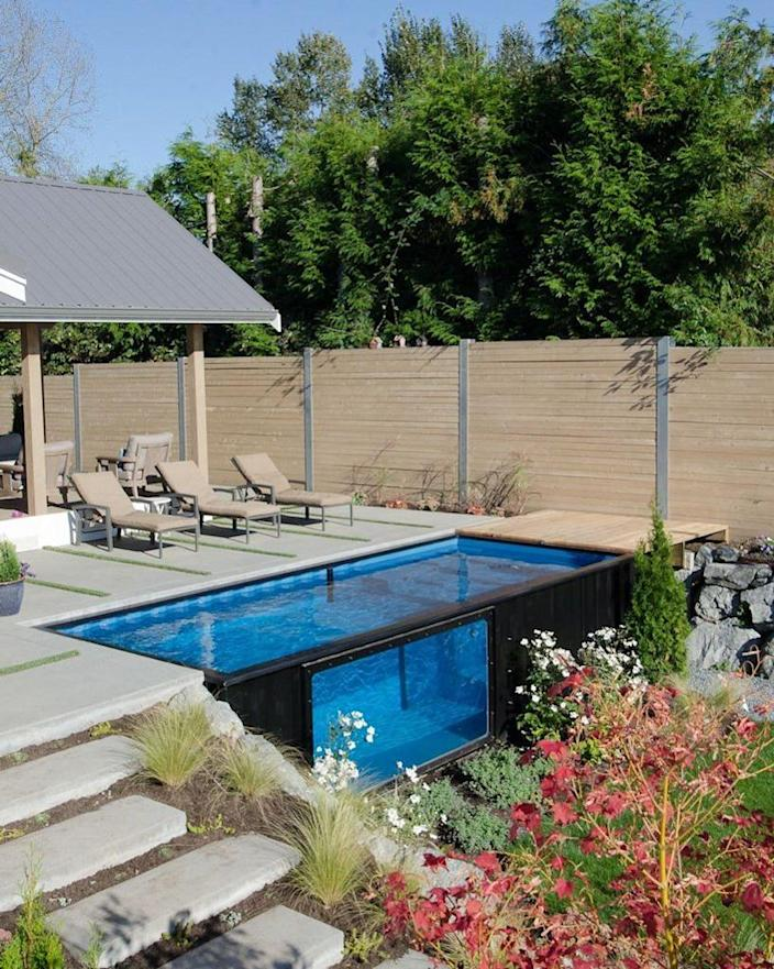 A sleek modern shipping container pool designed by Modpools.