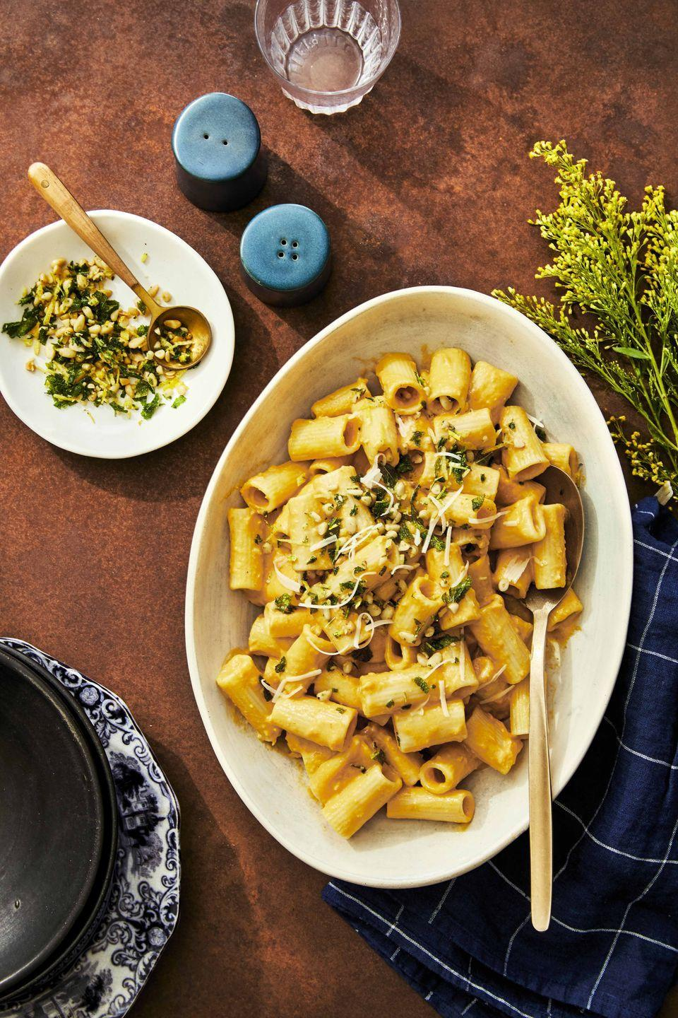"<p>A can of pumpkin, some pine nuts, and a few herbs are all you need to elevate this dish to the ethereal.</p><p><strong><a href=""https://www.countryliving.com/food-drinks/a33944132/creamy-pumpkin-pasta-with-pine-nut-gremolata/"" rel=""nofollow noopener"" target=""_blank"" data-ylk=""slk:Get the recipe"" class=""link rapid-noclick-resp"">Get the recipe</a>.</strong></p><p><strong><a class=""link rapid-noclick-resp"" href=""https://www.amazon.com/Cuisinart-733-30H-Classic-Stainless-2-Quart/dp/B00008CM6B/?tag=syn-yahoo-20&ascsubtag=%5Bartid%7C10050.g.34100795%5Bsrc%7Cyahoo-us"" rel=""nofollow noopener"" target=""_blank"" data-ylk=""slk:SHOP SAUTÉ PANS"">SHOP SAUTÉ PANS</a></strong></p>"