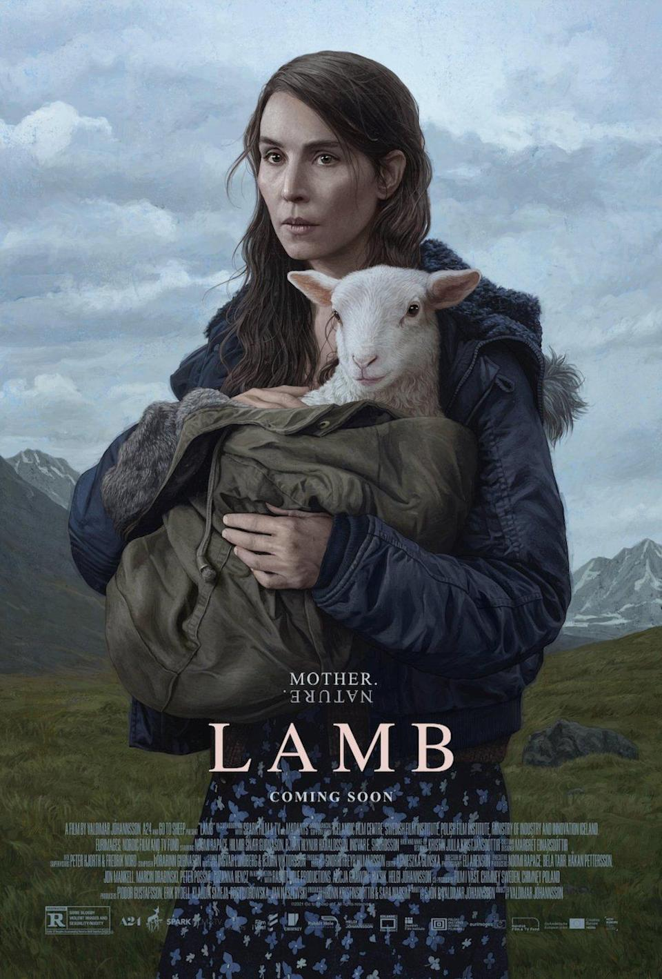 A woman holds a goat on a mountainside in a poster for A24's Lamb