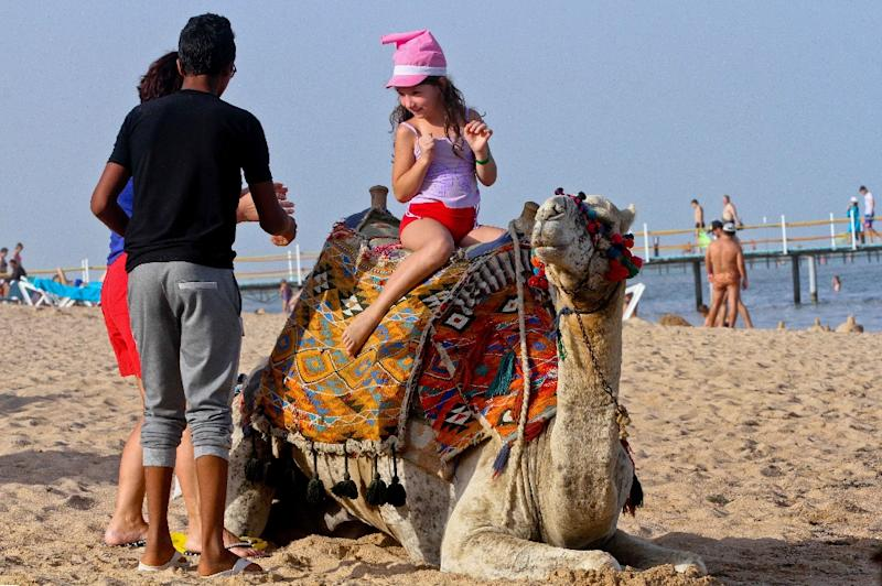 A tourist poses on a camel at the beach in the Egyptian Red Sea resort of Sharm el-Sheikh on November 3, 2015 (AFP Photo/STR)