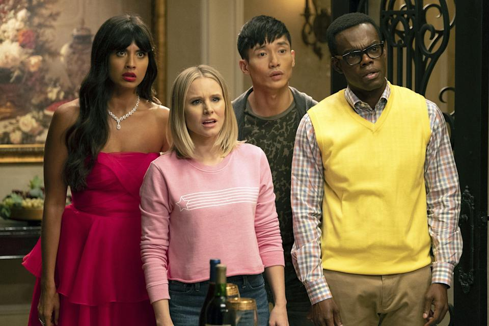 """<p><strong><em>The Good Place</em>(2019)</strong></p><p>Kristen Bell, Ted Danson and Jameela Jamil return for the fourth and – brace yourself – <a href=""""https://www.refinery29.com/en-gb/2019/06/234904/the-good-place-ending-season-4"""" rel=""""nofollow noopener"""" target=""""_blank"""" data-ylk=""""slk:final"""" class=""""link rapid-noclick-resp"""">final</a> season of the heavenly US sitcom.</p><p>New episodes added weekly from 27th September.</p>"""