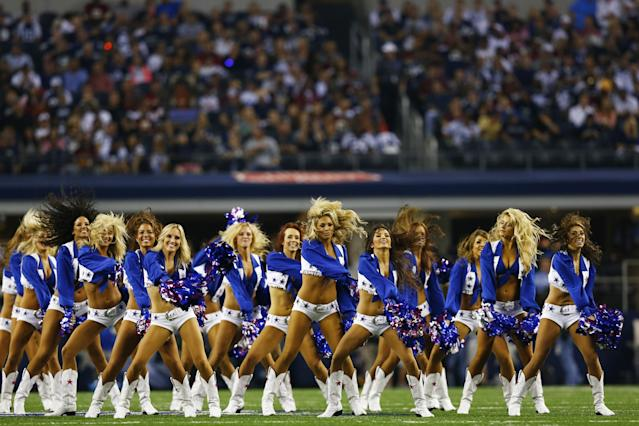 ARLINGTON, TX - OCTOBER 13: The Dallas Cowboys cheerleaders perform during a game against the Washington Redskins at AT&T Stadium on October 13, 2013 in Arlington, Texas. (Photo by Tom Pennington/Getty Images)