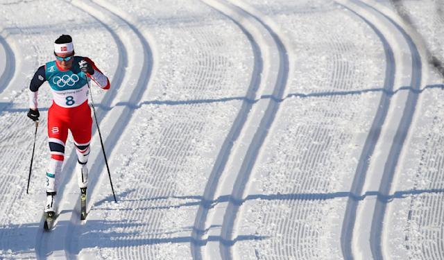 Cross-Country Skiing - Pyeongchang 2018 Winter Olympics - Women's 30km Mass Start Classic - Alpensia Cross-Country Skiing Centre - Pyeongchang, South Korea - February 25, 2018 - Marit Bjoergen of Norway competes. REUTERS/Carlos Barria