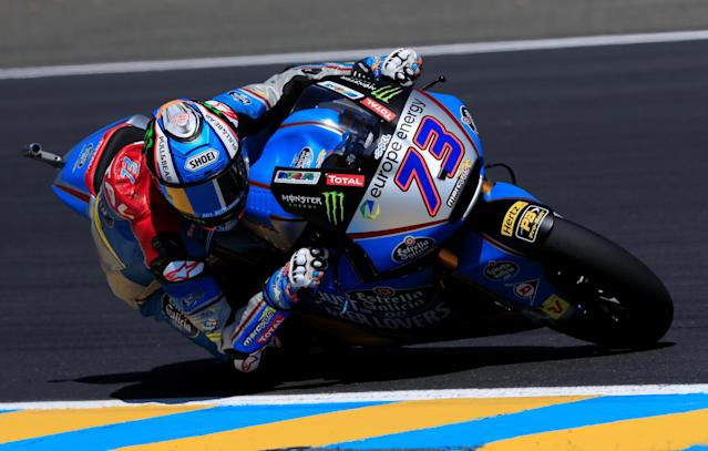 Motorcycling - Moto2 - French Grand Prix - Bugatti Circuit, Le Mans, France - May 19, 2018 EG 0,0 Marc VDS's Alex Marquez during qualifying REUTERS/Gonzalo Fuentes
